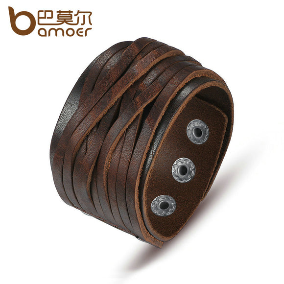 Leather Bracelet With Adjustable Alloy Buckle for Men & Women