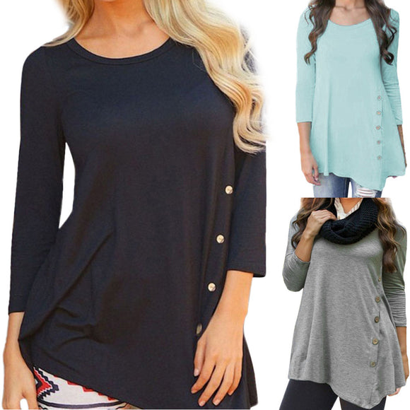 Long Sleeve with Loose Button and solid color Round Neck Tunic