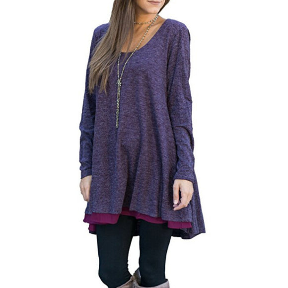 Long Sleeve Layered Scoop Neck Tunic