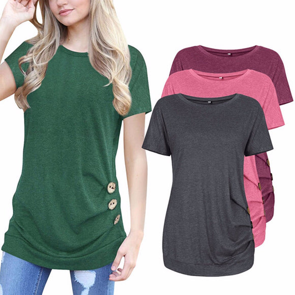Short Sleeve with Loose Buttons and Solid color Round Neck Tunic