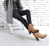 Belt Buckle High Heels Ankle Boots