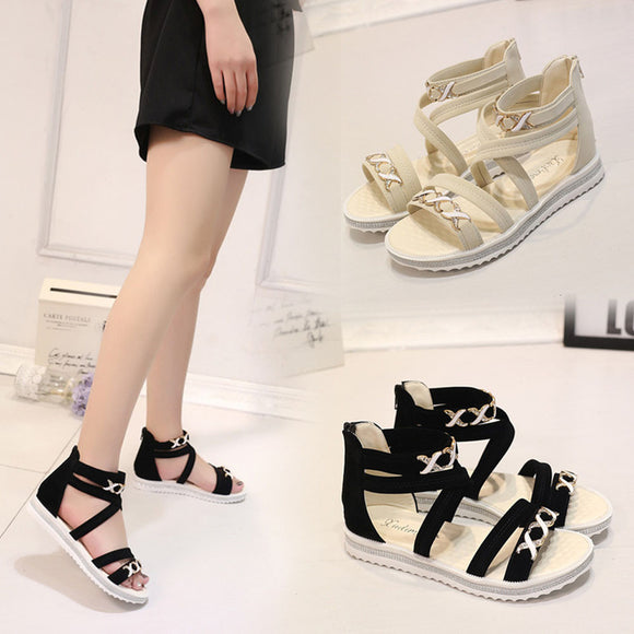 Flat Summer Soft Leather Leisure Sandals