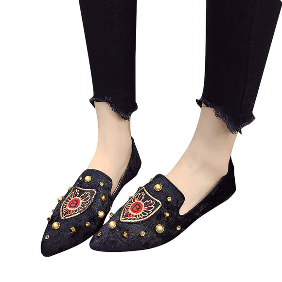 Ladies Letter B Embroidery Suede Slip-On Casual Shoes