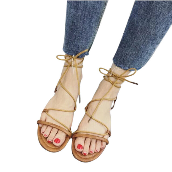 Strappy Bandage Lace-Up Toe Sandals