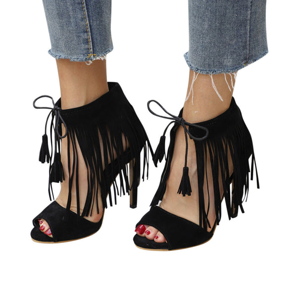Buckle Strap Tassel Ankle High Heels