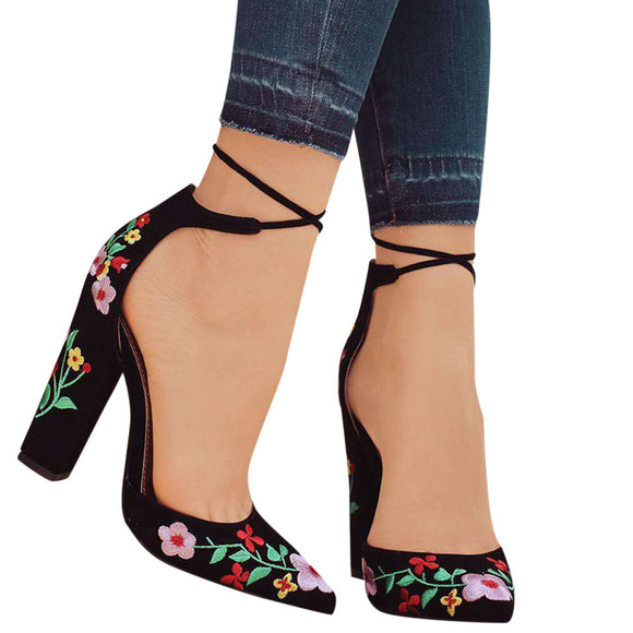 Wildflower Embroidery With Crude High-Heeled Pointed Toe