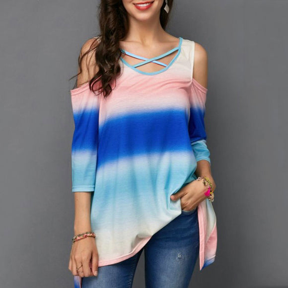 Stitching Print O Neck  Casual Loose Tunic