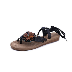 Flower Bandage Design Clip Toe Flat Sandals