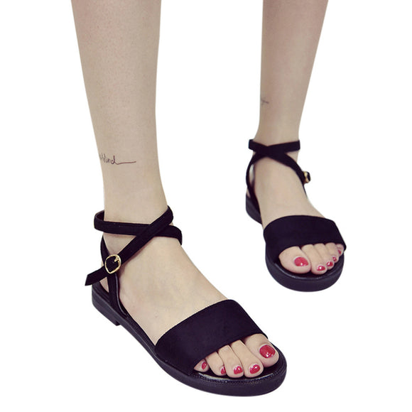 Solid Color Hasp Flat Heel Peep Toe Sandals