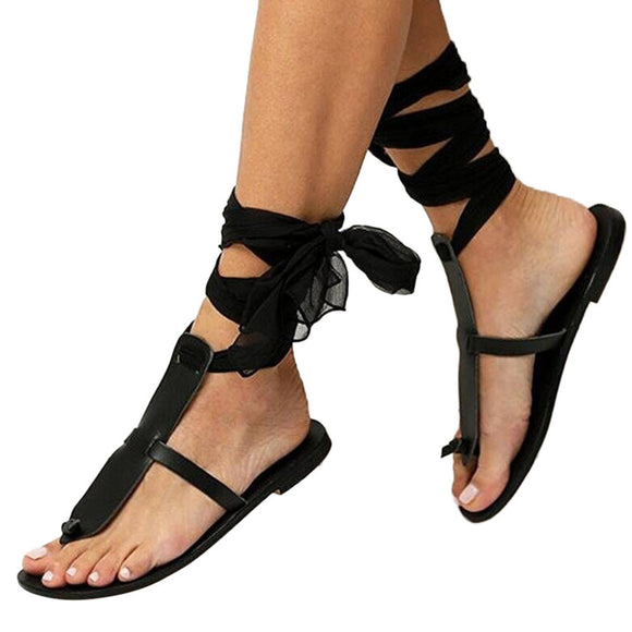 Cross Strap Ribbon Flat Ankle Roman Sandals