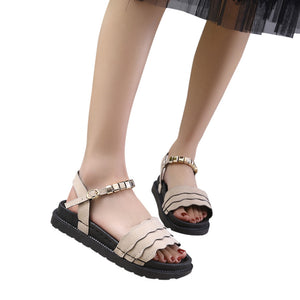 Metal Decoration Hasp Rounded Toe Sandals