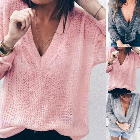Long Sleeves with V-Neck Loose Sweater