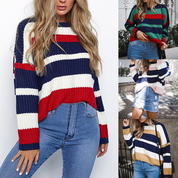 Women Winter Fashion Long Sleeve Knitted Patchwork Tops Loose Sweater Blouse