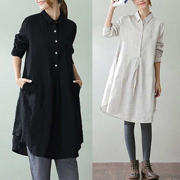 Cotton Baggy Pullover Long Sleeve Tunic