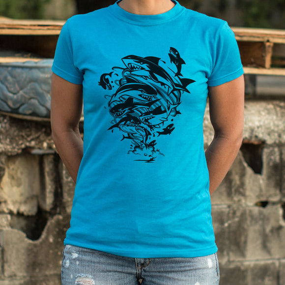 Ladies Sharks In A Tornado T-Shirt