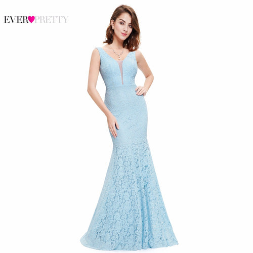 Lace Mermaid Prom Dresses Long Ever Pretty EP08838 Fashion Small Train Sexy Trumpet V-Neck Elegant Prom Dresses