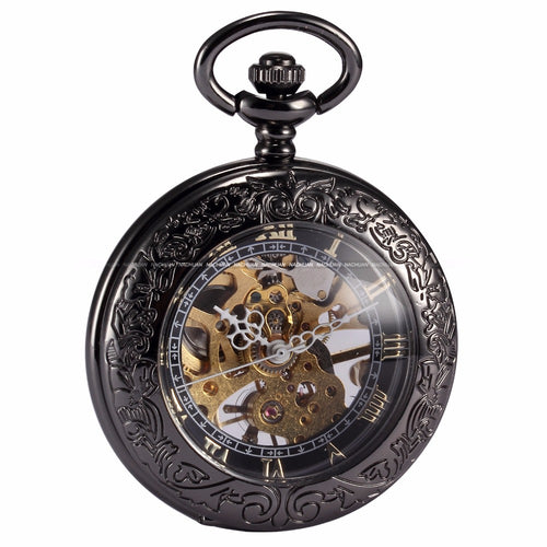 Steampunk Skeleton Nurse Clock Transparent Mechanical Copper Open Face Relogio De Bolso Fobs Pendant Pocket Watch Present/WPK164