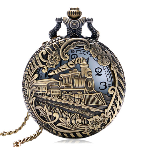 Vintage Retro Bronze Hollow Train Locomotive Steampunk Quartz Pocket Watch Women Men Necklace Pendant with Chain Birthday Gift