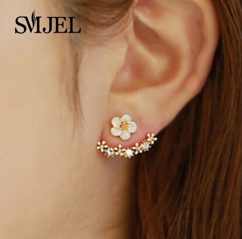SMJEL Fashion Jewelry Cute Cherry Blossoms Flower Stud Earrings for Women Several Peach Blossoms Earrings  S129