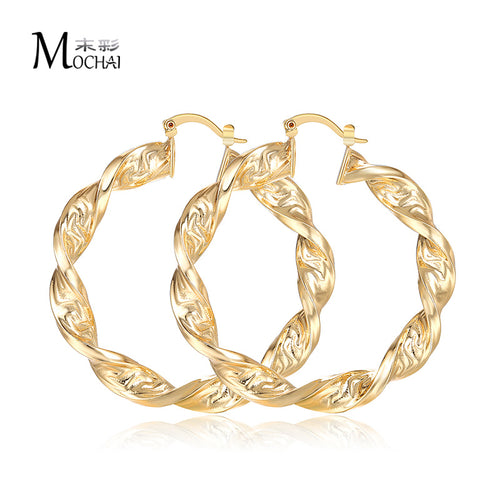 New Fashion Big Circle Punk Great Wall Pattern Hoop Earrings Twisted Gold Color For Women Party Wholesale Top Quality zk30 60mm