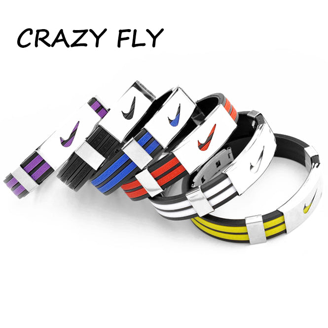 CRAZY FLY High Quality Stainless Steel Leather Bracelets & Bangles Silicone Tide Charm Men Statement Jewelry Accessories 2018