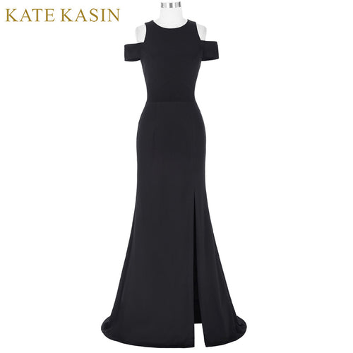 Kate Kasin Women Black Prom Dresses 2018 Vestido de Festa Cap Sleeve Cocktail Dress Long Prom Gowns Special Occasion Dresses