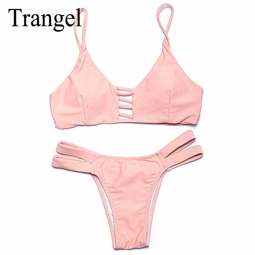 Trangel Sexy Push Up Bikini Set Women Swimwear Tops and Bottoms Two-Piece Separates Swimsuit Summer Thong Bikini Beach Wear