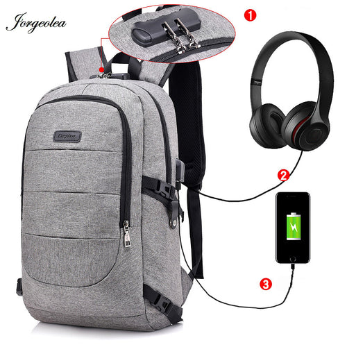 Jorgeolea Men Business Leisure Daypack USB Charging Function Shoulder Backpack Teenage School Bag For Women Labtop Backpack 1225
