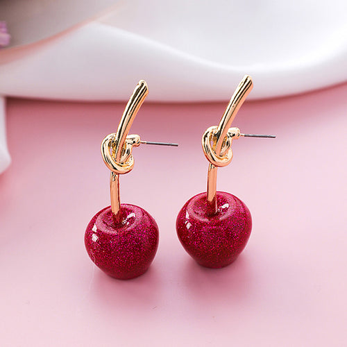 WEIYU Cherry Stud Earrings boucle d'oreille Romantic Gold Color Knot Cute Red Resin Fruit Earrings for Women Fashion Jewelry