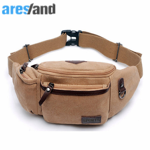 ARESLAND new Multi-Function  casual Waist Chest Bag Men Male portable Functional Waist Bag Money Phone Belt Bag  Khaki Black