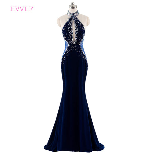 Dark Blue 2018 Prom Dresses Mermaid Halter Beaded Crystals Velvet Backless Women Long Prom Gown Evening Dresses Robe De Soiree