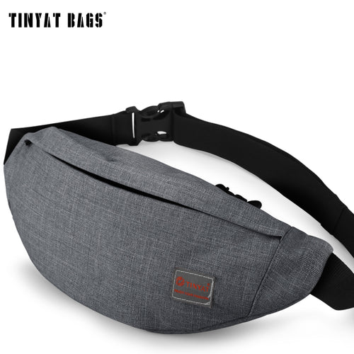 TINYAT Men Male Casual Functional Fanny Bag Waist Bag Money Phone Belt Bag T201 Gray Black