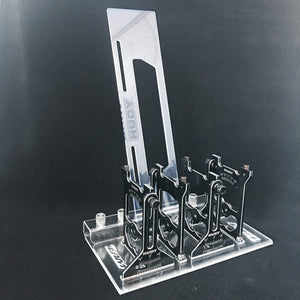 Team EAM Acrylic Setup Station holder.  Fits Hudy TC and 10th Scale Off road systems.