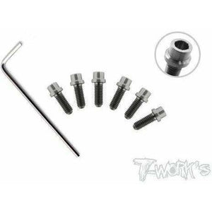 Tworks 64 Titanium Metric Rear Wheel Screw set for x12 and other Pan cars.  M3 (6pcs)