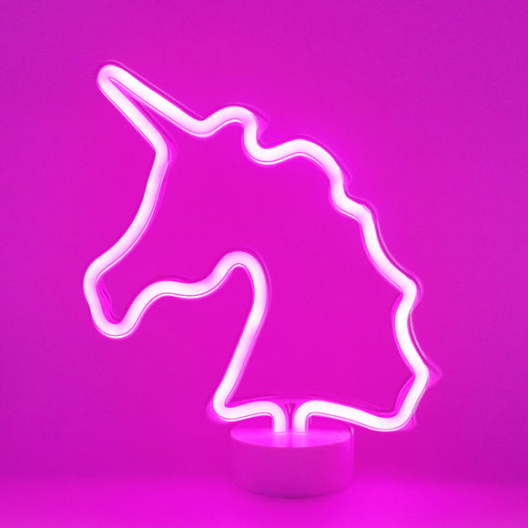 TONGER® Pink Unicorn Table LED Neon Light