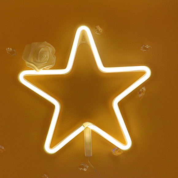 TONGER® Warm White Star Wall LED Neon Light Sign