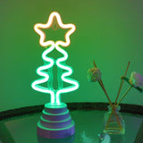TONGER® Christmas Tree With Star Table/Wall LED Neon Light