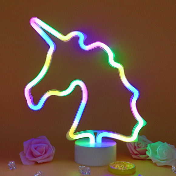 TONGER® Colorful Unicorn Table LED Neon Light