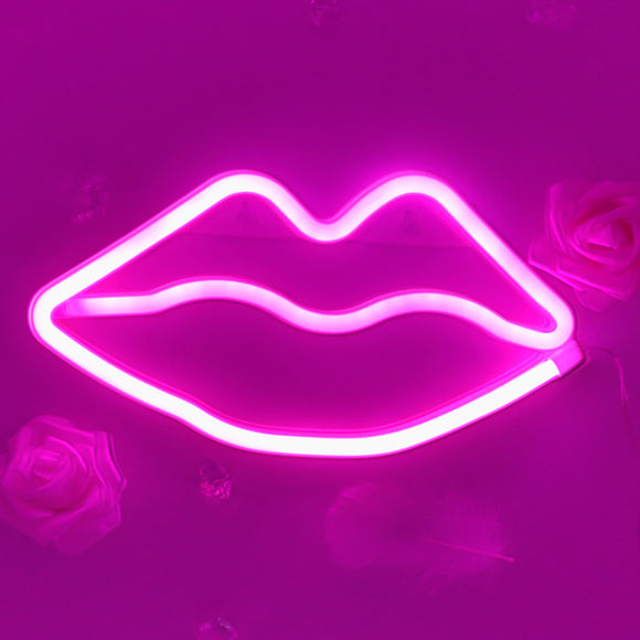 TONGER® Pink Lips Wall LED Neon Light Sign