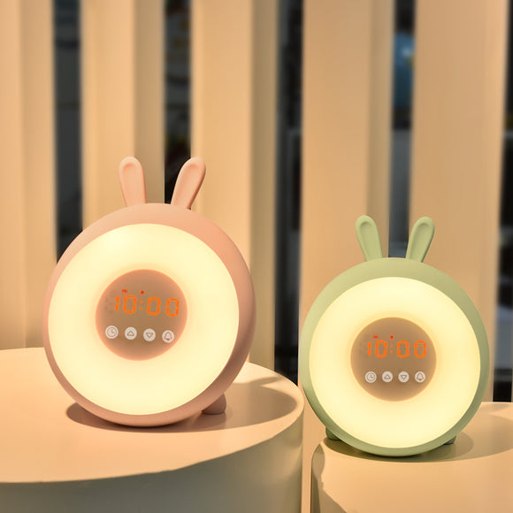 TONGER® Cute Bunny Alarm Clock With Wake Up Light