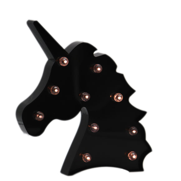 TONGER® Black Unicorn Head LED Marquee Light