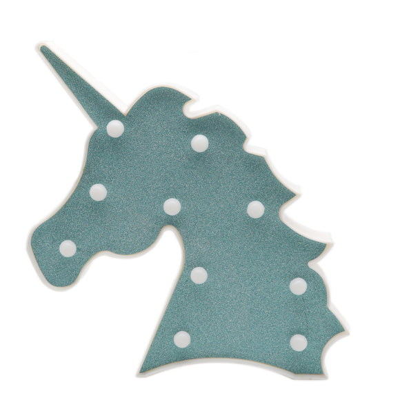 TONGER® Green Glitter Unicorn Head LED Marquee Light