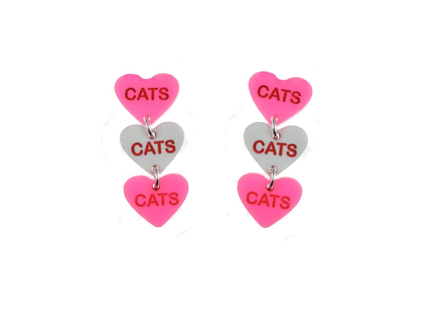 Cats Cats Cats Candy Heart Earrings