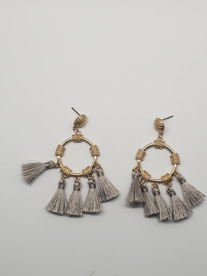 Drop Hoop Tassel Earrings