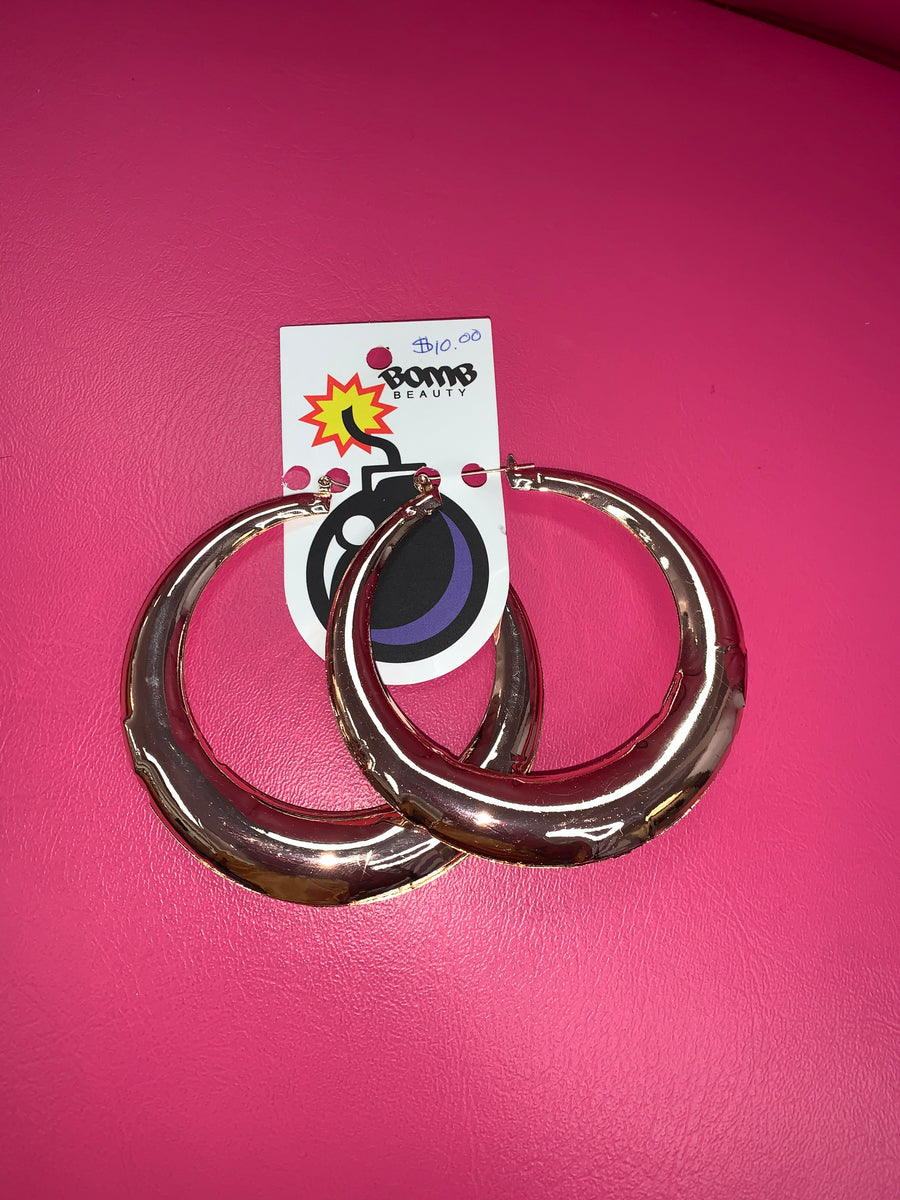 Polished Metal Large Hoops