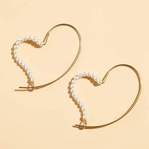 Koko and Lola - Gold Heart Pearl Accent Hoop Earrings