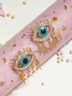 Koko and Lola - Gold Crystal Eye Lightning and Star Earrings