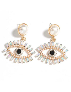 Koko and Lola - Swarovski Clear Eyelash & Pearl Earring