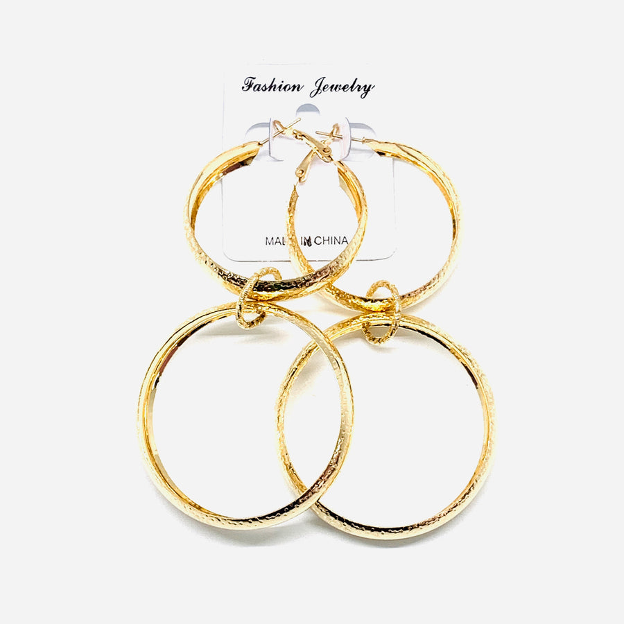 Gold Double Hung Hoops
