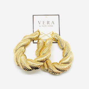 Large Gold Twisted Rope Hoops